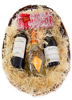 Wine Hamper 3-bottles-and Butlers chocolate box