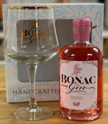 Bonac Irish Gin Raspberry & Rose Half Bottle With Glass